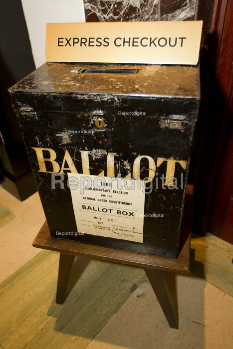 Old council election ballot box used as the express checkout at the luxurious Town Hall Hotel, Hackney, East London. - Jess Hurd - 2012-01-19