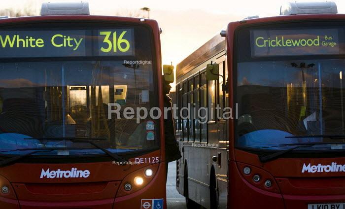 Hybrid diesel electric Technology Metroline bus which gives 30% better fuel economy (mpg), ComfortDelGro UK. London. - Jess Hurd - 2012-01-19