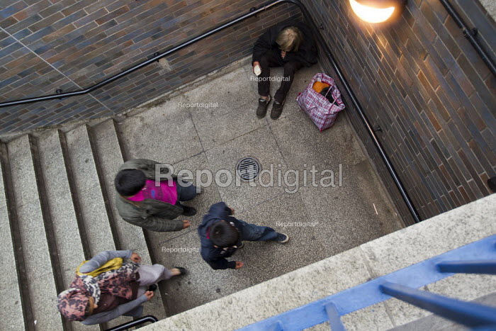 Paul (52) is homeless after a breakdown following his divorce. He has been issued a court order restricting him from begging in his usual patch near Tower Bridge, Tower Hamlets, East London. - Jess Hurd - 2012-08-27