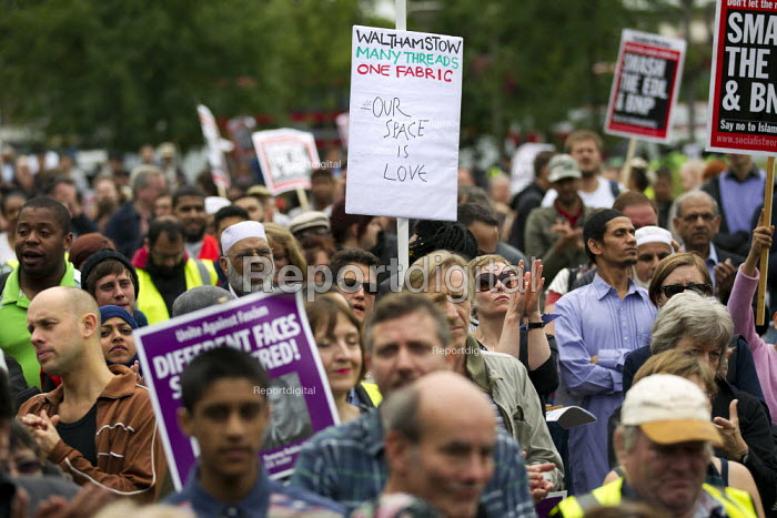 A march and rally by the English Defence League is stopped by thousands of local anti-fascist protesters We Are Waltham Forest, who blocked the march by sitting in the road. Walthamstow. - Jess Hurd - 2012-09-01