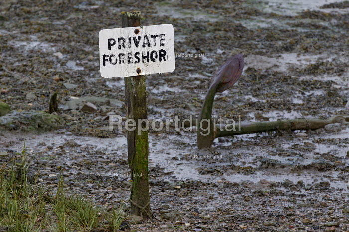 Private Foreshore sign with anchor. Mersea Island fishing harbour. North East Essex - Jess Hurd - 2012-09-27