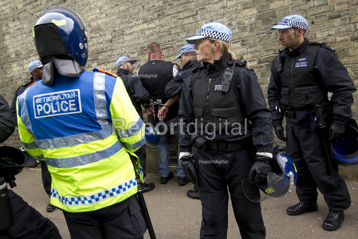 EDL member arrested. A march and rally by the English Defence League is stopped by thousands of local anti-fascist protesters We Are Waltham Forest, who blocked the march by sitting in the road. Walthamstow. - Jess Hurd - 2012-09-01