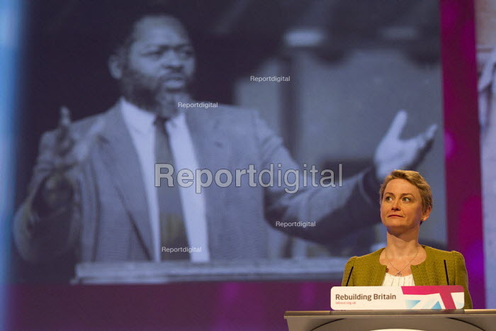 Yvette Cooper honours BME MP's, pictured with an image of Bernie Grant MP. Labour Party Conference 2012, Manchester. - Jess Hurd - 2012-09-30