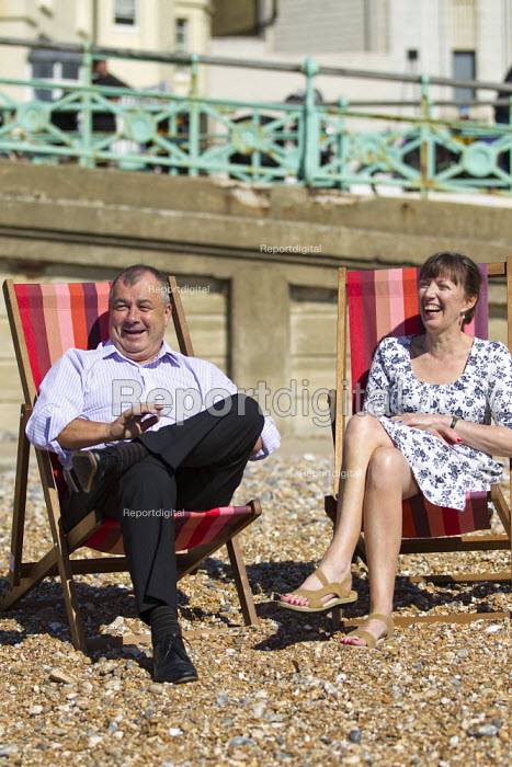 Brendan Barber outgoing TUC Gen Sec with his replacement Frances O'Grady on Brighton Beach on the opening day of TUC Congress 2012. - Jess Hurd - 2012-09-09