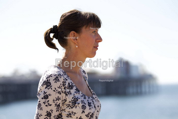 Frances O'Grady TUC Gen Sec elect on Brighton Beach on the opening day of TUC Congress 2012. - Jess Hurd - 2012-09-09
