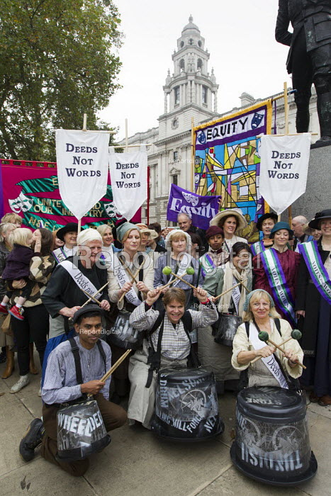 Suffragette actresses and actors at a UK Feminista rally and lobby of Parliament, campaigning for gender equality. London. - Jess Hurd - 2012-10-24