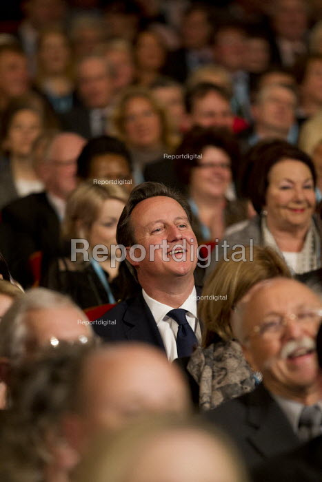 David Cameron MP laughing at Boris Johnson's speech. Conservative Party Conference 2012, Birmingham. - Jess Hurd - 2012-10-09