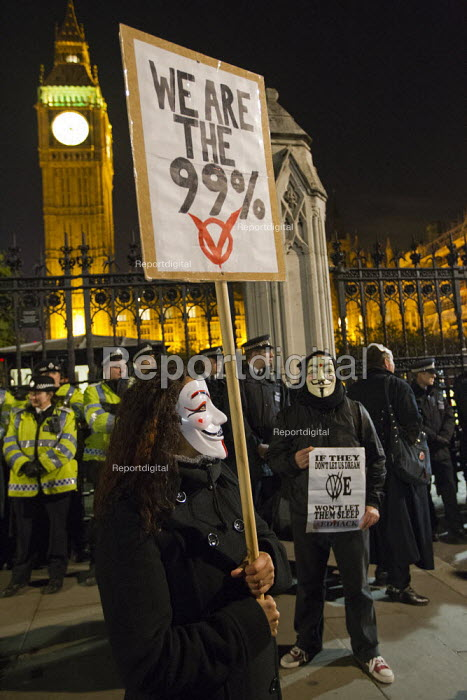 London joins a worldwide day of protests and cyber attacks against governments, banks and security firms has been launched by Hacker collective Anonymous to mark Guy Fawkes Day. March from Trafalgar Square to Westminster Parliament. - Jess Hurd - 2012-11-05