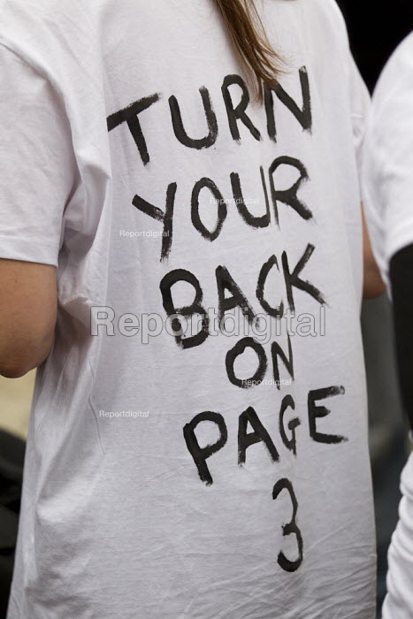 Turn Your Back on Page 3 campaign, Object and other feminist groups mark the anniversary of Page 3 with a protest outside News International HQ calling for an end to sexist misrepresentations of women in our press. East London. - Jess Hurd - 2012-11-17