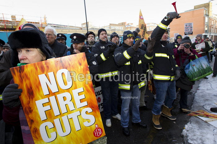 Mass lobby of the London Fire and Emergency Planning Authority (LFEPA) meeting to protest at plans to close 12 fire stations and axe 520 firefighter jobs. Called by the London region of the FBU. - Jess Hurd - 2013-01-21