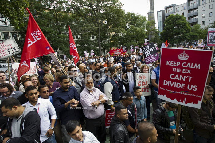 Labour Party flags. Protest against the English Defence League. Altab Ali Park, Tower Hamlets, East London. - Jess Hurd - 2013-09-07