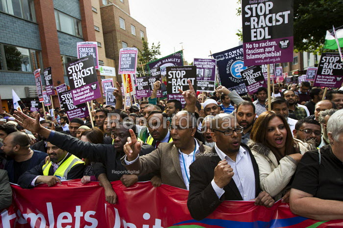 Lutfur Rahman, Mayor of Tower Hamlets joins a mass demonstration in Tower Hamlets against the English Defence League. East London. - Jess Hurd - 2013-09-07