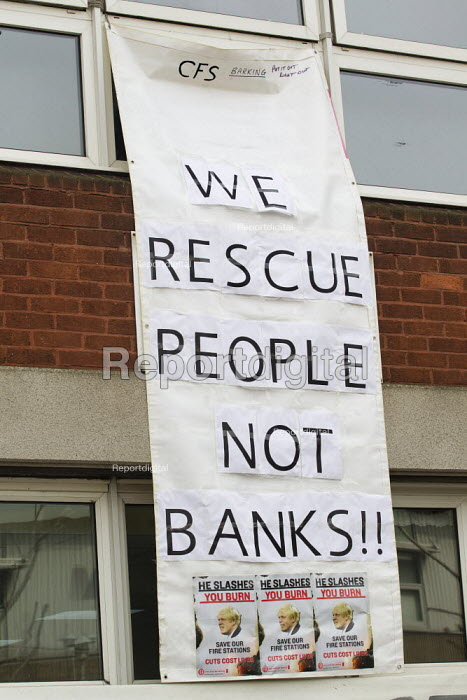 We rescue people not banks!! FBU 4 hour strike over firefighters pensions and retirement age. Poplar Fire Station, Tower Hamlets, East London - Jess Hurd - 2013-09-25