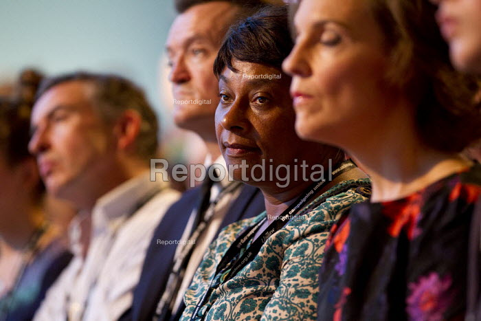 Doreen Lawrence listens to Ed Miliband MP - leaders speech. Labour Party Conference 2013. Brighton. - Jess Hurd - 2013-09-24