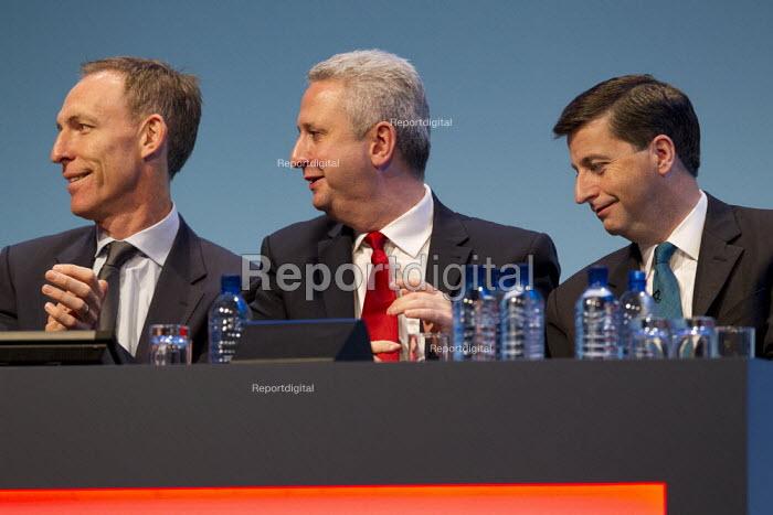 Jim Murphy MP, Ivan Lewis MP and Douglas Alexander MP. Labour Party Conference 2013. Brighton. - Jess Hurd - 2013-09-23