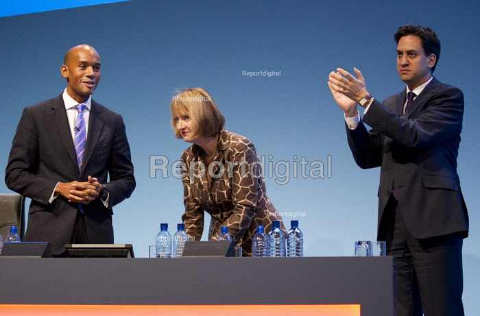 Chuka Umunna MP, Hariett Harman MP and Ed Miliband MP. . Labour Party Conference 2013. Brighton. - Jess Hurd - 2013-09-23