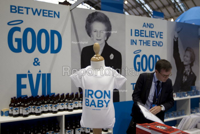Iron Baby t shirt. Margaret Thatcher memorabilia merchandise The Maggie Collection at The Conservative Party shop. Conservative Party Conference 2013. Manchester. - Jess Hurd - 2013-09-30