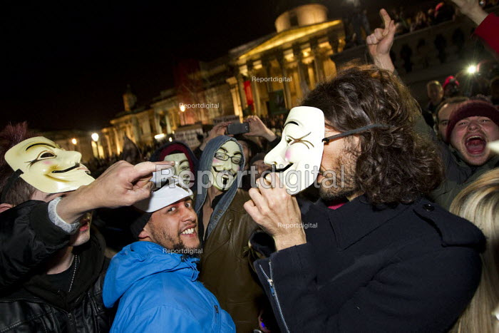 Comedian Russell Brand joins the Million Mask March, Operation Vendetta march on Parliament to mark November 5th, Westminster, London. - Jess Hurd - 2013-11-05