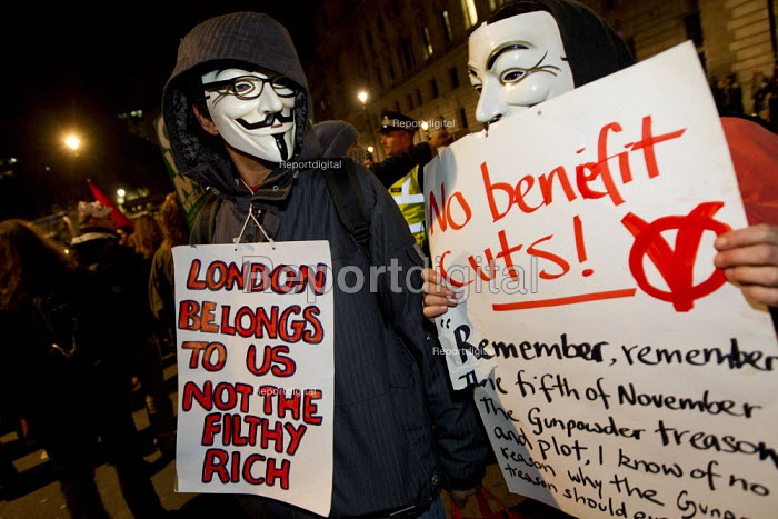 Million Mask March, Operation Vendetta march on Parliament to mark November 5th, Westminster, London. - Jess Hurd - 2013-11-05