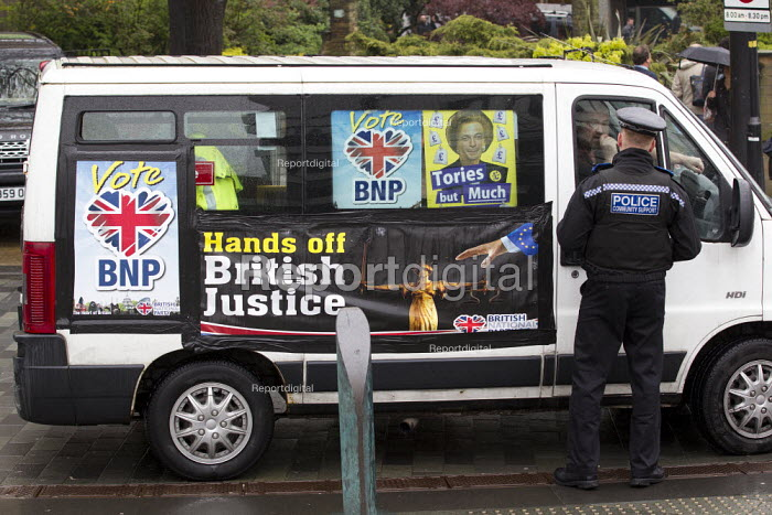 The BNP turn up at the UKIP European election campaign launch, saying that they have stolen their slogan. Sheffield. - Jess Hurd - 2014-04-22