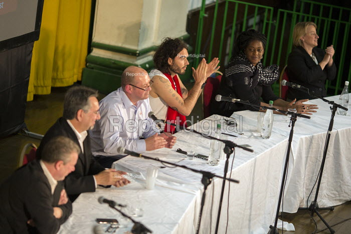 Panel: Mark Serwotka PCS, John Rees StW, Steve Turner Unite, Russell Brand, Ava Vidal and Natalie Bennett Green Party. The People's Assembly, People's Question Time. York Hall, Tower Hamlets. East London. - Jess Hurd - 2014-10-09