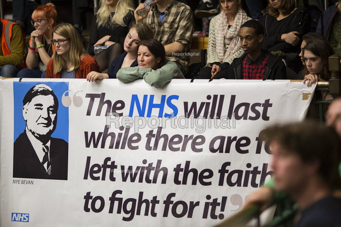 Nye Bevan quote. The People's Assembly, People's Question Time. York Hall, Tower Hamlets. East London. - Jess Hurd - 2014-10-09