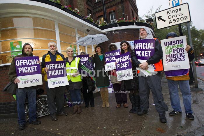 Frances O'Grady TUC Gen Sec joins NHS public service workers picket in a dispute over pay. St Pancras Hospital, Kings Cross, London. - Jess Hurd - 2014-10-13