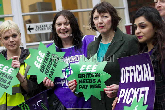Frances O'Grady TUC Gen Sec joins NHS public service workers picket in a dispute over pay. St Pancras Hospital, Kings Cross, London. - Jess Hurd - 2014-10-13
