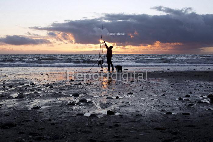 Sea fishing. Tywyn beach, Dysynni Valley. Snowdonia National Park. Wales. - Jess Hurd - 2014-10-24