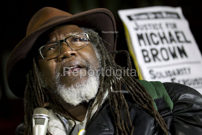Glenroy Watson RMT speaking. Solidarity with Ferguson - Justice for Michael Brown. Protest began at the US Embassy and ended at Scotland Yard. London. - Jess Hurd - 2014-11-26