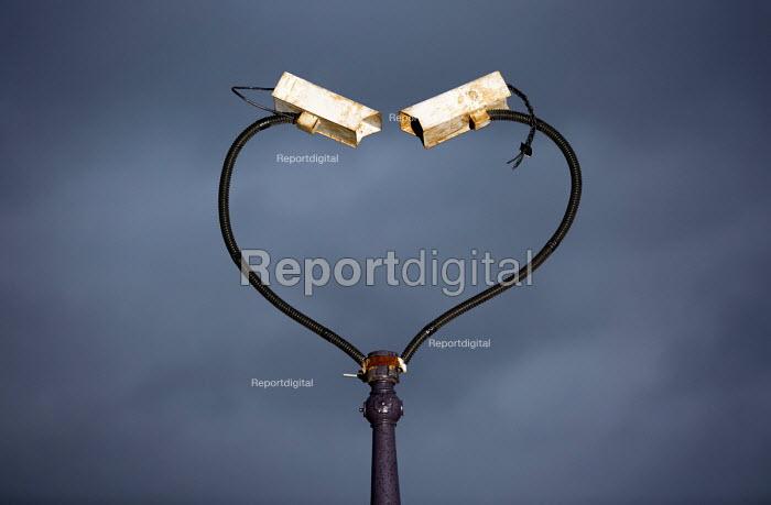 CCTV cameras twisted to form a heart shape. East London - Jess Hurd - 2014-11-11