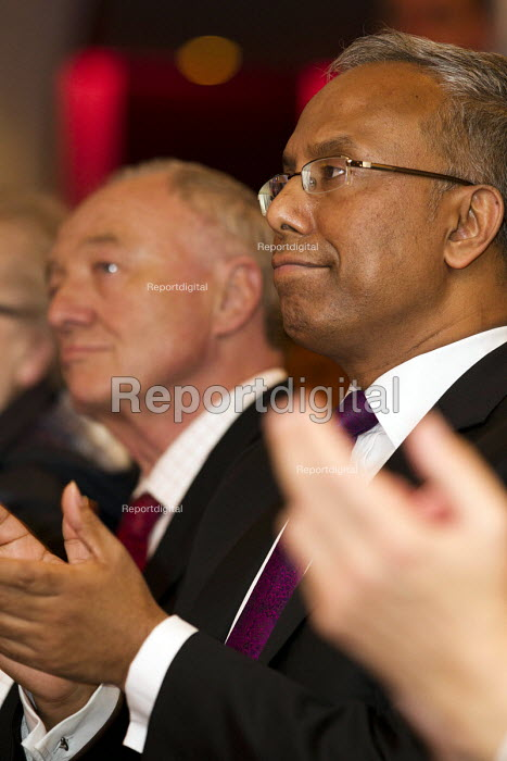 Lutfur Rahman and Ken Livingstone MP. Supporters gather to defend Lutfur Rahman, Tower Hamlets Mayor, against financial allegations and smears from Eric Pickles MP. East London. - Jess Hurd - 2014-11-13