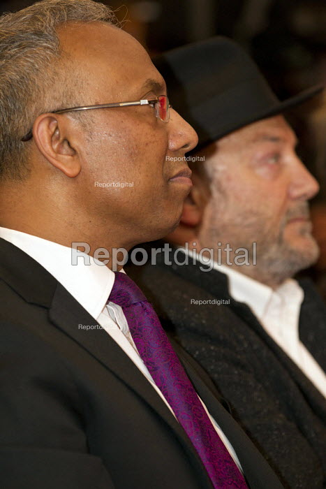 Lutfur Rahman and George Galloway MP. Supporters gather to defend Lutfur Rahman, Tower Hamlets Mayor, against financial allegations and smears from Eric Pickles MP. East London. - Jess Hurd - 2014-11-13