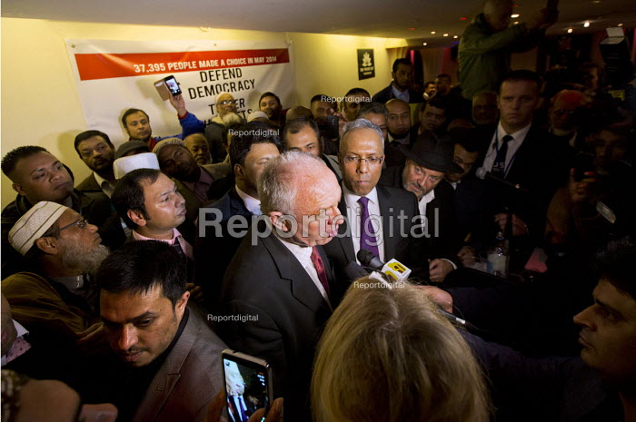 Ken Livingstone and George Galloway defend Lutfur Rahman. Supporters gather to defend Lutfur Rahman, Tower Hamlets Mayor, against financial allegations and smears from Eric Pickles MP. East London. - Jess Hurd - 2014-11-13