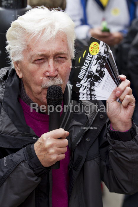 Granville Williams (CPBF) speaking Orgreave Truth and Justice Campaign protest at the office of the Independent Police Complaints Commission. Campaigners are angry with delays to the investigation into allegations of violent policing at the Orgreave coke plant during the miners strike on 18 June 1984 - Jess Hurd - 2014-11-14
