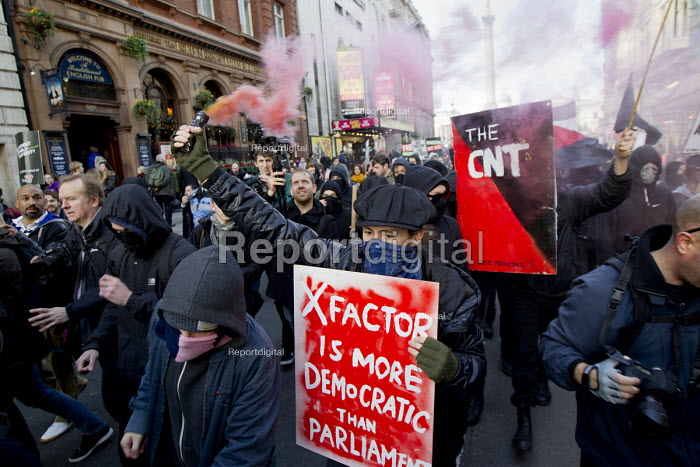 The X Factor is more democratic than Parliament.. Thousands of students march against debt and for free education. London. - Jess Hurd - 2014-11-19