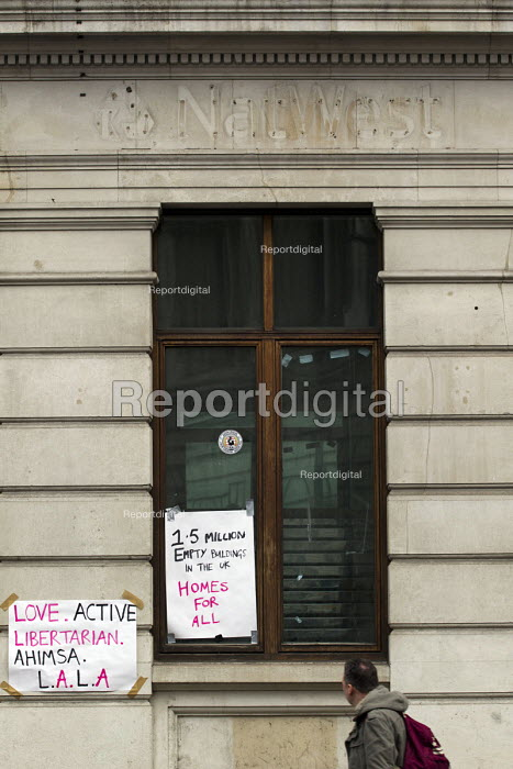 Protest against empty buildings, RBS Bank where they were evicted by Westminster Council. London. - Jess Hurd - 2014-12-30