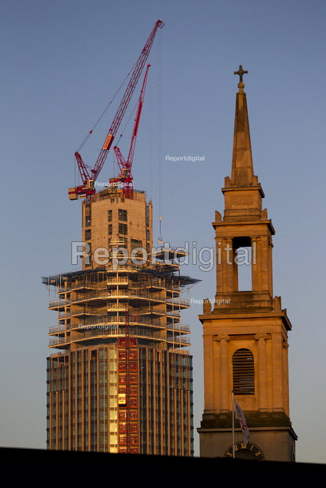 New building, old church. Construction site in Waterloo. South London. - Jess Hurd - 2014-12-05