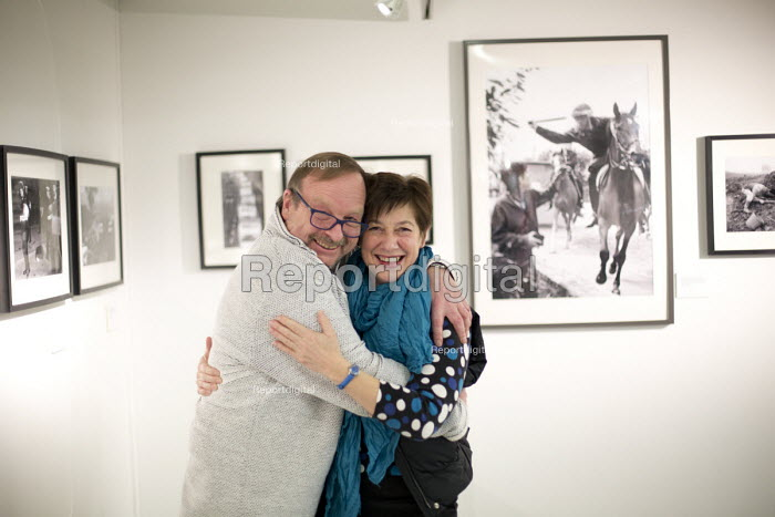Photographer John Harris and Cilla Watts. Still The Enemy Within, miners strike exhibition at Rich Mix, London. - Jess Hurd - 2014-12-05