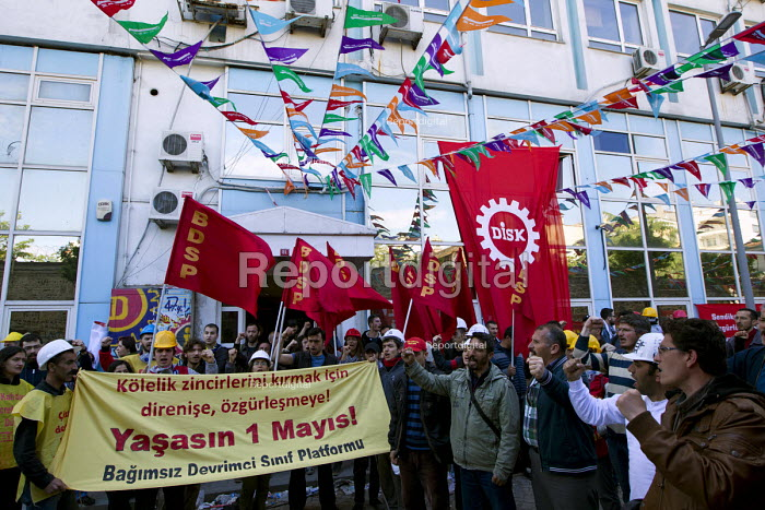 Outside the DISK building after they were attacked by police. Turkish police surround Taksim Square to prevent May day marches. Istanbul, Turkey. - Jess Hurd - 2014-05-01