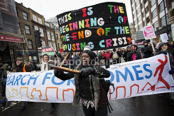 March for Homes organised by housing campaign groups converges on City Hall. London. - Jess Hurd - 2015-01-31