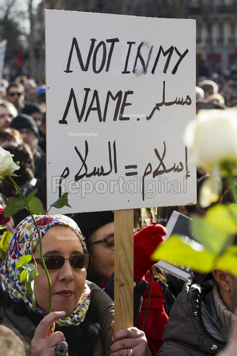 Not in my Name, Je suis Charlie Hebdo unity march after the shooting of cartoonists in the attack on the Charlie Hebdo magazine offices, Paris, France - Jess Hurd - 2015-01-11
