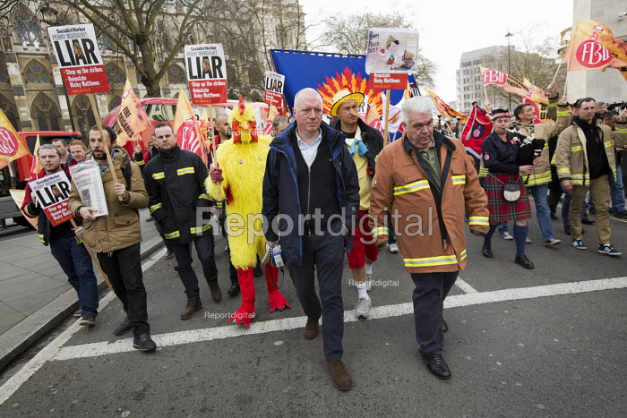 Matt Wrack, FBU joins striking firefighters rallying and protesting outside parliament in a long-running pensions dispute. Westminster. London. - Jess Hurd - 2015-02-25
