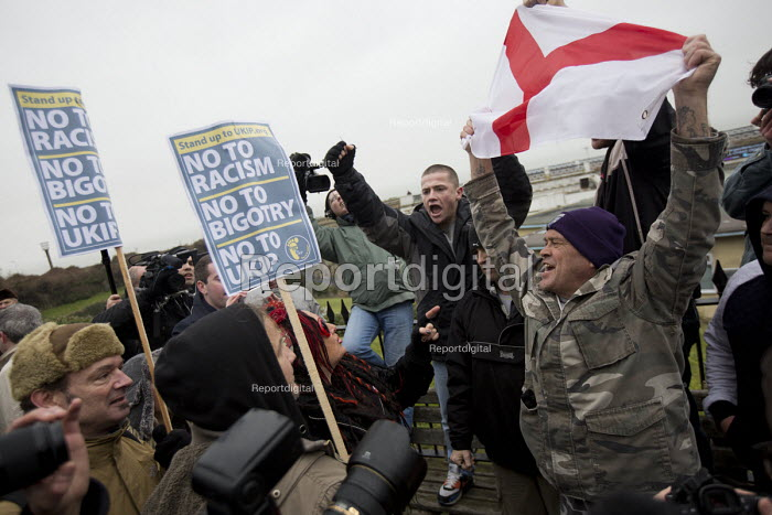 Britain First counter protest. Stand up to UKIP protest outside UKIP Spring Conference. Margate, Kent. - Jess Hurd - 2015-02-28