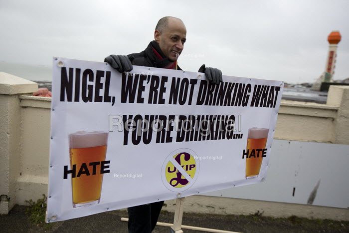 Stand up to UKIP protest outside UKIP Spring Conference. Margate, Kent. - Jess Hurd - 2015-02-28