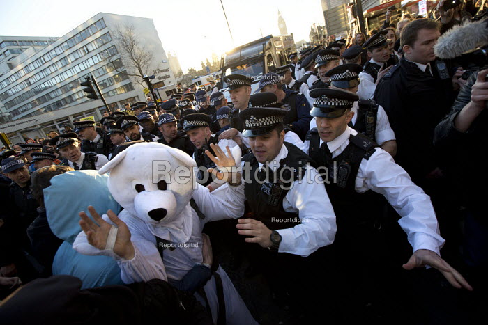 Police and Polar bear, Time to Act! Climate Change National Demonstration. London. - Jess Hurd - 2015-03-07