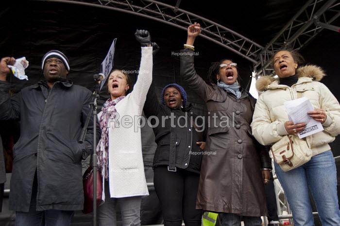 Weyman Bennett UAF, Carol Duggan, Janet Alder and Marcia Rigg. Stand up to racism & fascism, national demonstration. London. - Jess Hurd - 2015-03-21