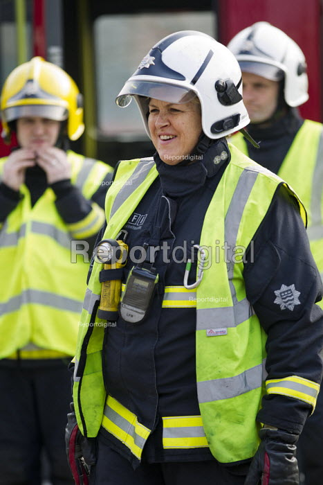 Sian Griffiths, White Watch Manager. Retiring after 30 years and one of the first LFB female firefighters. Road Traffic Accident training at Paddington Fire Station. London. - Jess Hurd - 2015-03-17