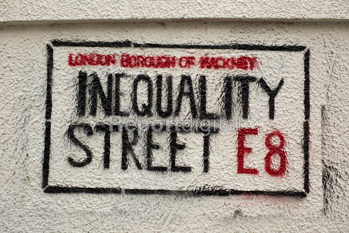 Inequality Street sign- stencil graffiti about the gentrification of the London Borough of Hackney, E8. - Jess Hurd - 2015-04-07