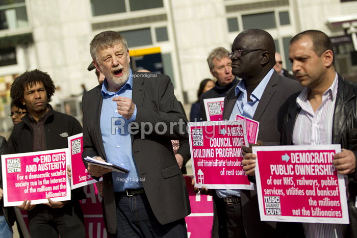 Dave Nellist. Trade Union and Socialist Coalition, TUSC launch their election manifesto at Canary Wharf. London Docklands. - Jess Hurd - 2015-04-10
